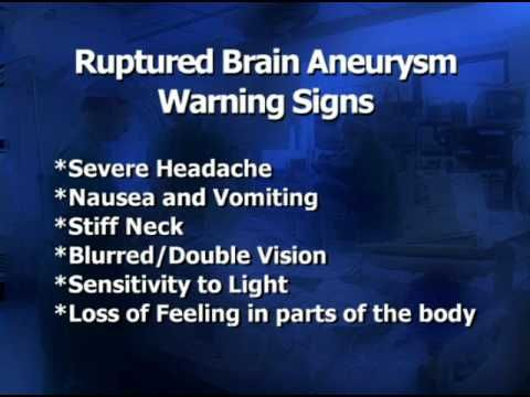 "The Brain Aneurysm Foundations answers the question ""What are the warning signs and symptoms of a brain aneurysm?"" Description from bafound.org. I searched for this on bing.com/images"