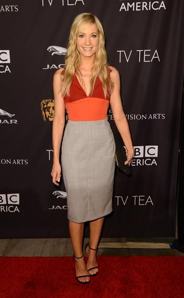 """""""Downton Abbey"""" star Joanne Froggatt rocked this body-hugging Altuzarra dress for the BAFTA TV Tea Party on Aug. 23, 2014. How good do those hues look together?"""