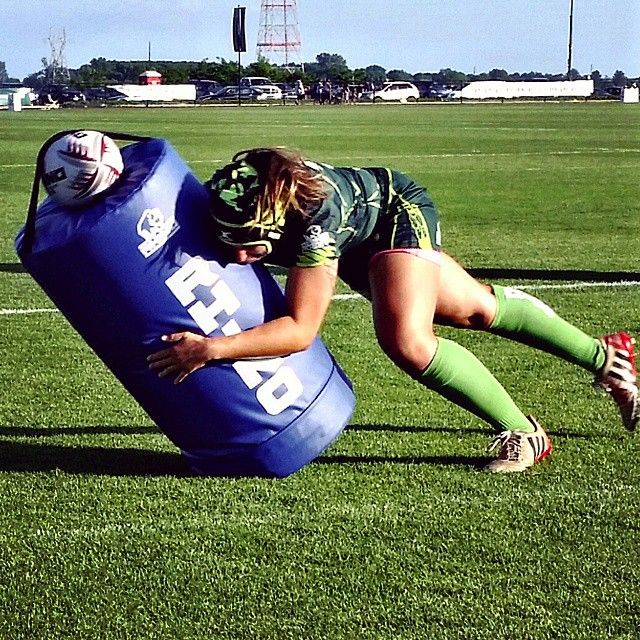 Coming to usa.rhinorugby.com soon-- the Low Tackle Bag!  Textbook form by the @lifeurugby women at the #CRCRugby yesterday. Goodluck in your final match today! #CRC7s #Rugby #Tackle
