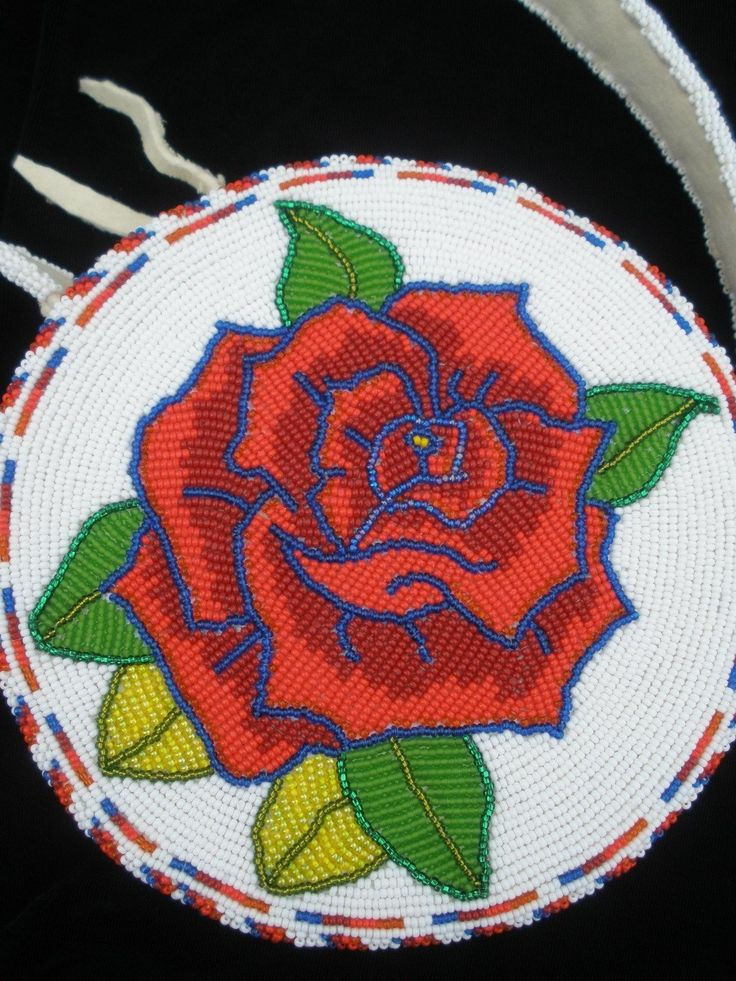 Exquisite Native American Shoshone Indian Beaded Rose