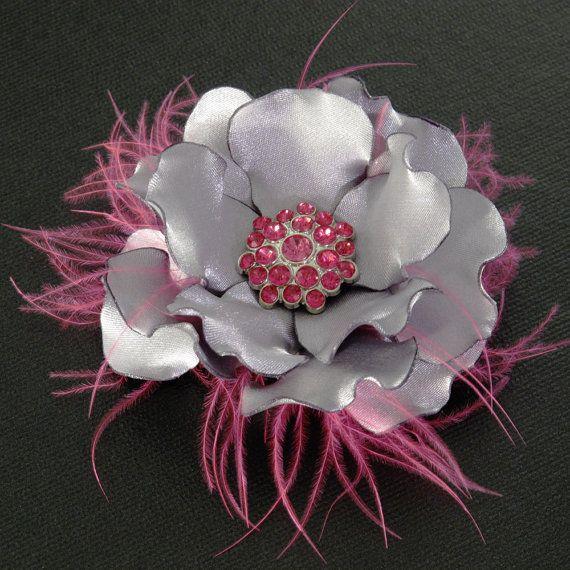 Flower Hair Clip Bridal Fuchsia Pink Silver Wedding by JerseyBride, $42.00