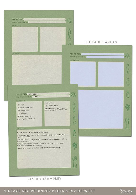 free recipe templates for binders - printable recipe binder pages vintage look 36 editable