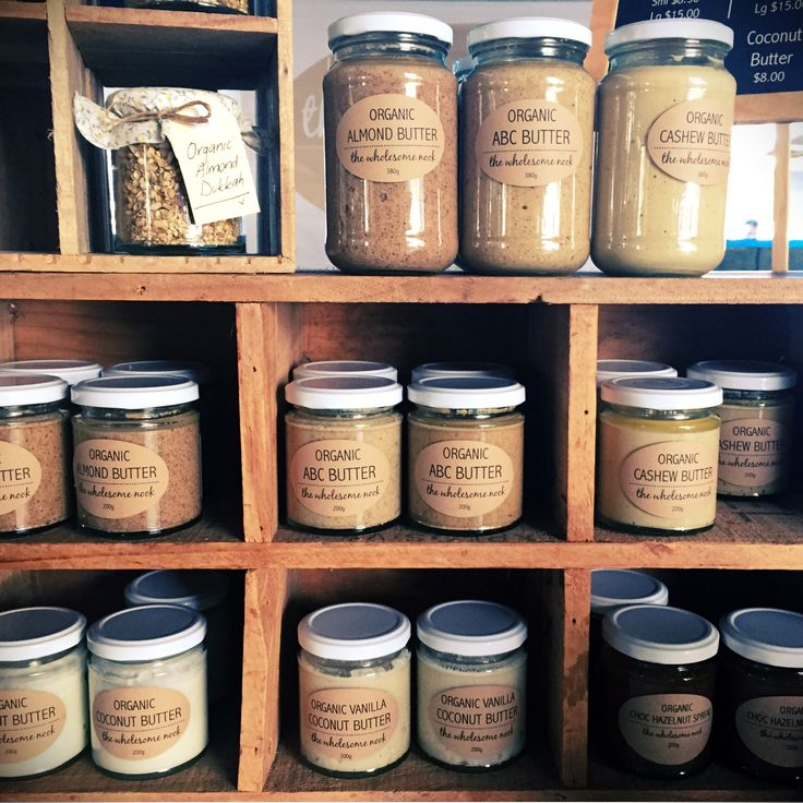 Organic nut butters from The Wholesome Nook at Kawana Waters Farmers Markets