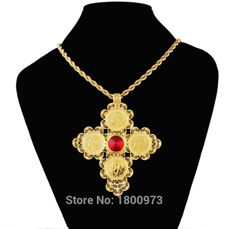New Arrival Big Size Ethiopia Cross Pendant For Men Women  Real Gold Plated Crystal Fashion Jewelry African Christmas Gift