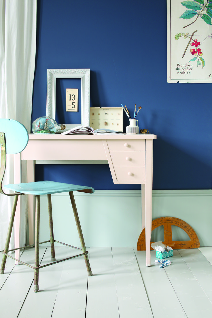 Walls: Stiffkey Blue® No.281 Estate® Emulsion, Floor: Hardwick White® No.5 Floor Paint, Skirting: Light Blue™ No.22 Estate® Eggshell, Desk: Setting Plaster® No.231 Estate® Eggshell.