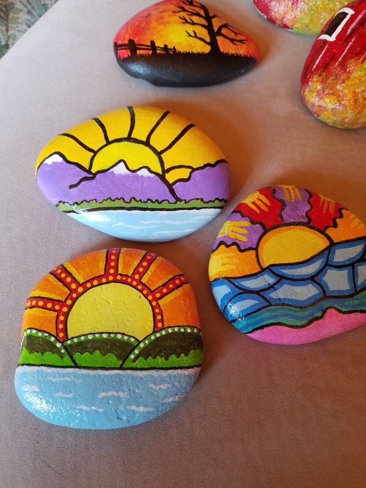 Sun theme painted rocks