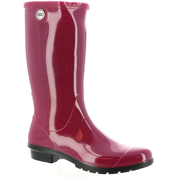 UGG Shaye Women's Pink Boot ($80) ❤ liked on Polyvore featuring shoes, boots, pink, waterproof shoes, low heel shoes, wellies boots, water proof boots and ugg boots