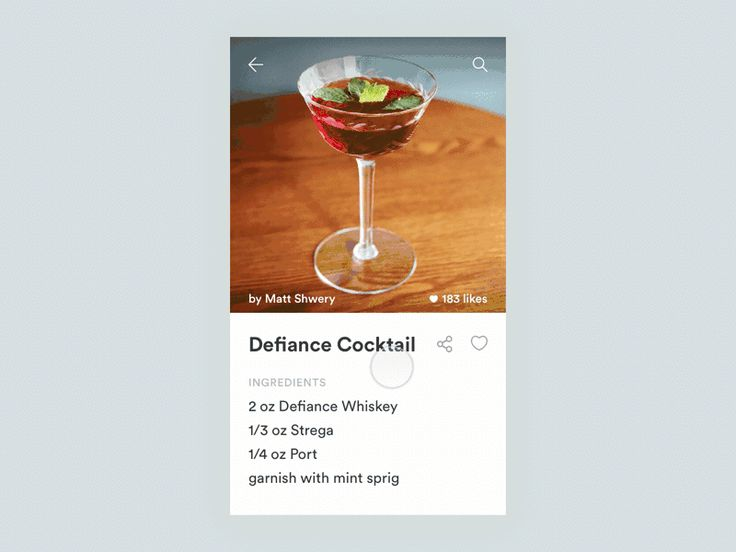 """Daily UI #010 Cocktail App """"Social Share"""" by Matt Shwery"""