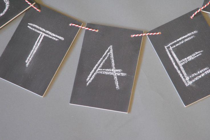 Houten (geboorte)slinger met schoolbordverf