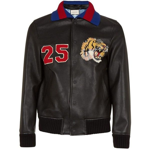 Gucci Embroidered Leather Bomber Jacket (9.850 BRL) ❤ liked on Polyvore featuring men's fashion, men's clothing, men's outerwear, men's jackets, mens leather flight jacket, mens real leather jackets, men's embroidered bomber jacket, gucci mens jacket and mens leather bomber jacket