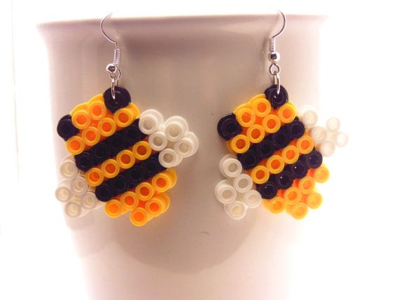 Bumble Bee Perler Earrings Teen Girl Earrings by DesignsBySEA