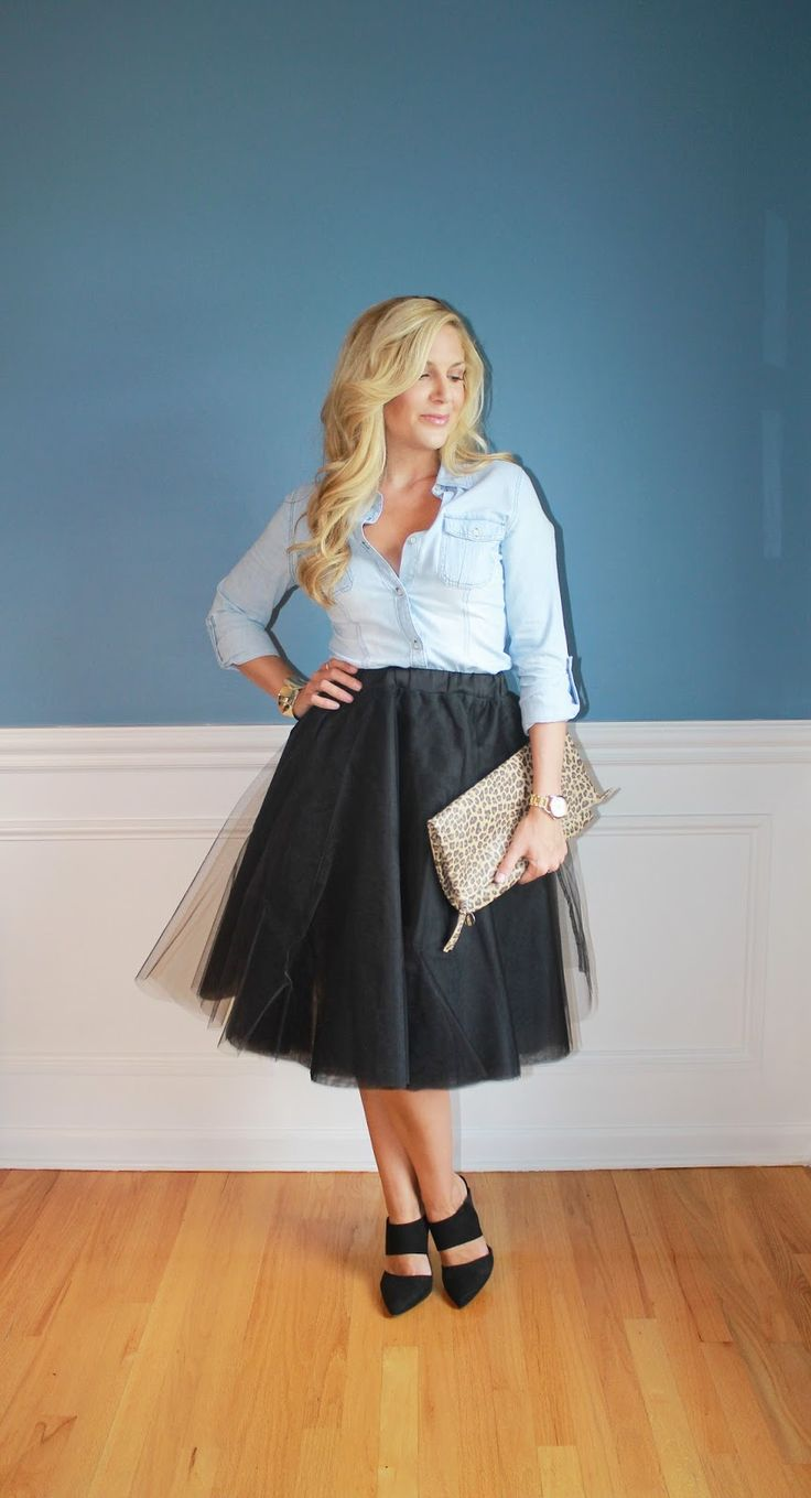 Outfitted411: Dressed Down Tulle...black tulle skirt, chambray shirt, mule heels, leopard print clutch