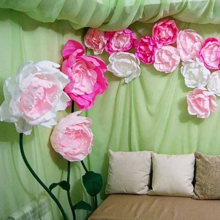картинки украшения зала бумажными цветами клетке