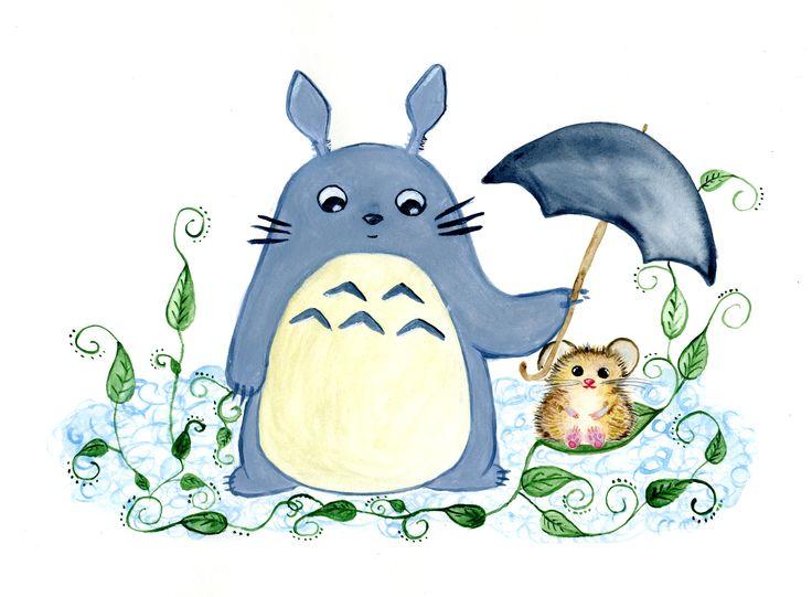 Totoro and hamster  #watercolour #totoro #hamster