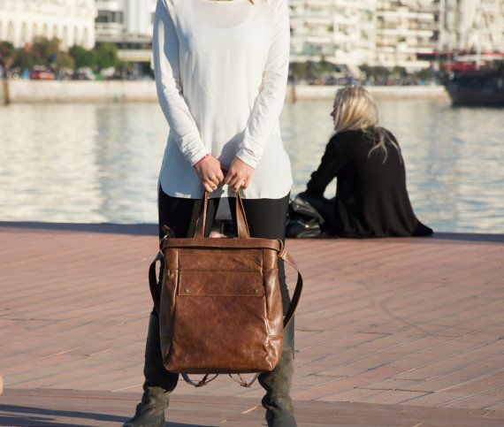 Brown leather tote bag Convertible bag   Laptop tote  by Laroll
