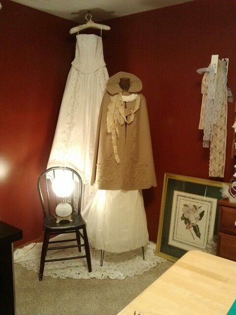 My sewing room. The cape is the one my Great Great Aunt Kate Worn that started the nursing school in Columbus Ohio