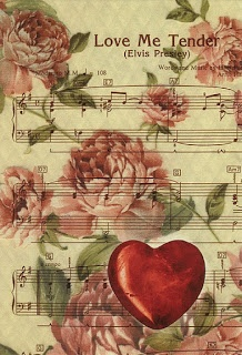 love me tender music sheet, elvis presley music sheet, music sheet collage, music sheet decoupage