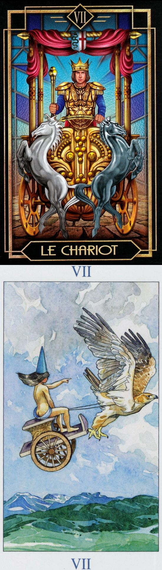 THE CHARIOT: willpower leading to victory and lack of direction (reverse). Decoratif Tarot deck and Sorcerer Tarot deck: tarot live yes or no, tarotplain and simple and true tarot reading. New tarot spreads layout and paganism art. #tarotmeanings # #pods #tarotdecks #fool