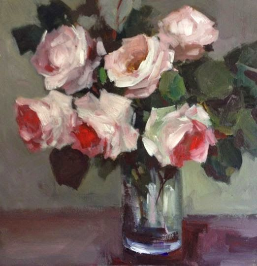 My new paintings: Roses in a glass