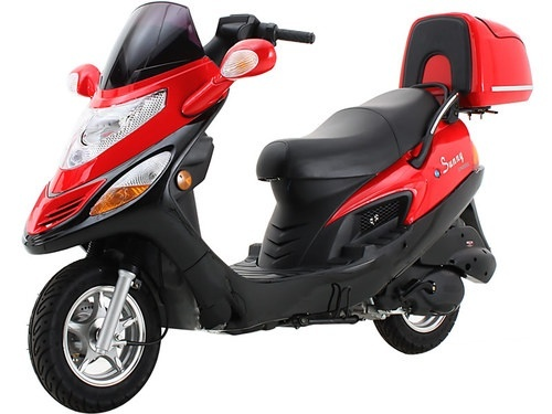 NEW Sunny Powersports MC-D150C RED Gas Aero 150cc Moped Scooter w/ Trunk , $1400