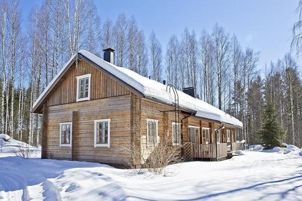 Log house for sale in Kangasniemi, Finland / Winter day