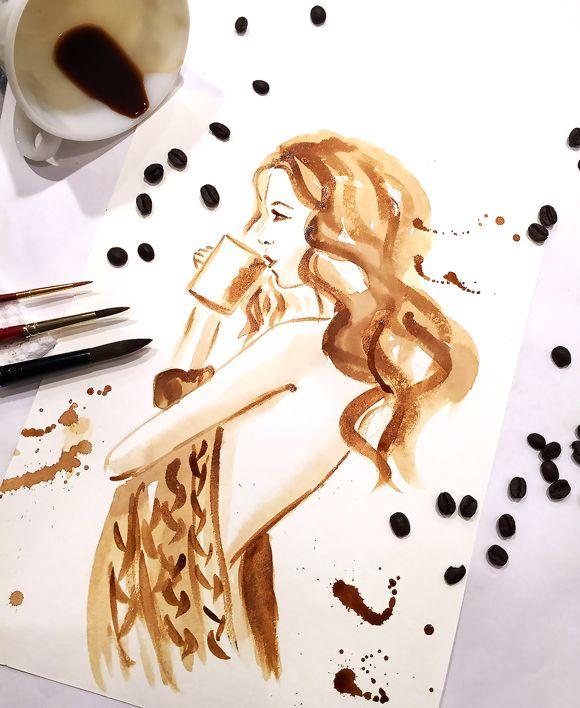 Coffee Illustration, coffee painting, coffee art by Elena Fay