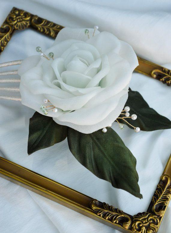 White Rose Hair comb Hair Flowers Floral hair by JanaRoyaleDesign