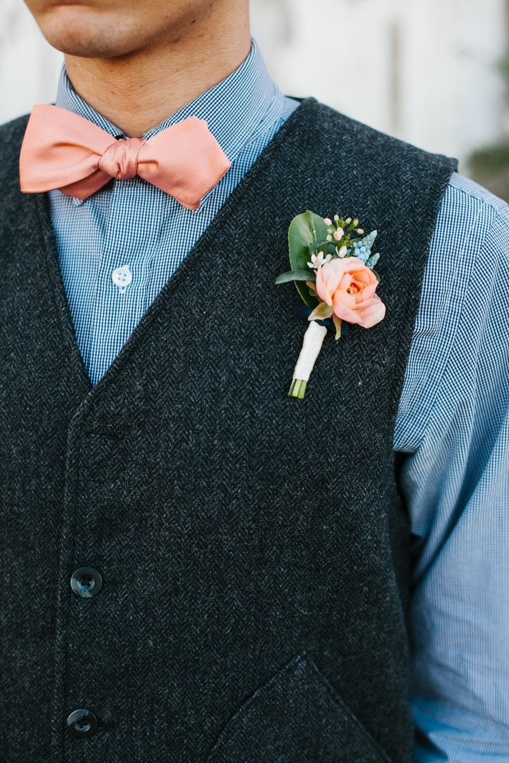 Coral ties for wedding