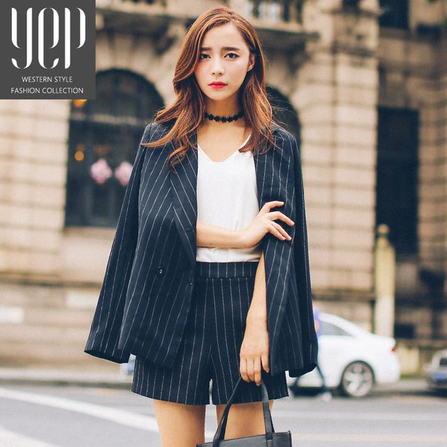 2016 autumn womens black and white vertical striped blazer and shorts set womens business suits franja conjuntos femininos US $75.88 Specifics Gender	Women Item Type	Blazers Decoration	Button Clothing Length	Long Pattern Type	Striped Closure Type	Single Button Brand Name	YEP Hooded	No Material	Polyester Collar	Notched Sleeve Length	Full Model Number	32461675190 Color	Black and white vertical striped Fabric Type	Broadcloth  Click to Buy :http://goo.gl/t9O329