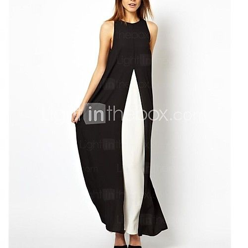 Women's White/Black/Gray Contrast Color Stitching Split Chiffon Maxi Dress 2017 - $29.07
