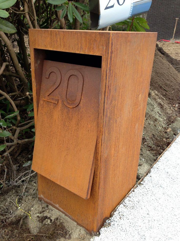 Corten steel letterbox.