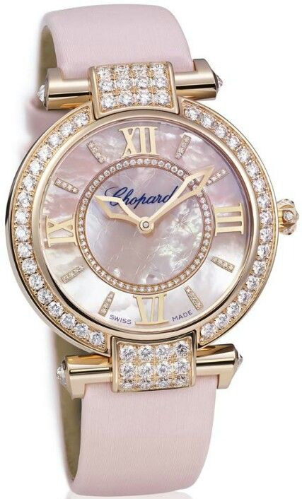 Chopard Imperiale - True to its origins, the arabesque motifs that characterise the Chopard Imperiale watch are featured in the centre of the dial, which has been enhanced for the season with brilliant-cut diamonds encrusted in the indices and interior bezel. Click on the image for more details...