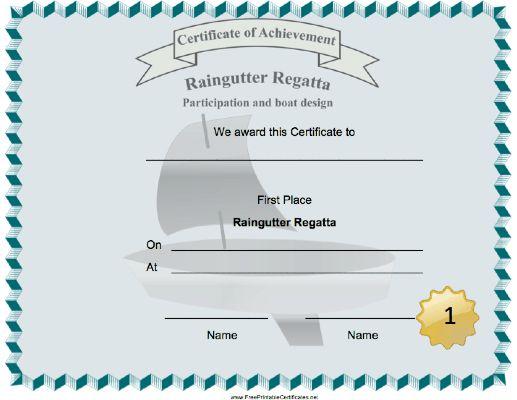 A sailboat decorates this Raingutter Regatta First Place ...