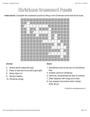 Christmas crossword puzzle that changes each time you visit.