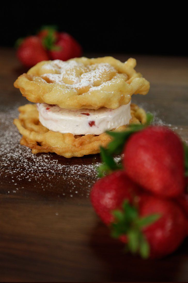Pin for Later: 35 Gorgeous Strawberry Desserts You Need to Make Immediately Strawberry Funnel Cake Ice Cream Sandwich Get the recipe: funnel cake ice cream sandwich