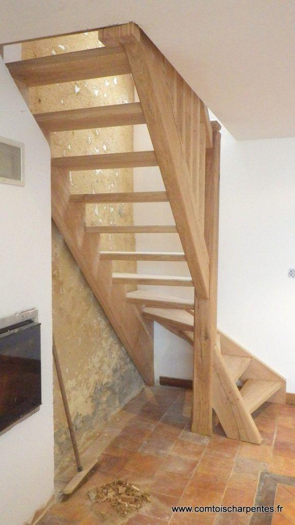 Escalier quart tournant balancé vieilli en chêne | лестницы ...