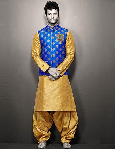 Blue gold brocade raw silk designer wedding wear men waist coat set Product Code: G3-MWCS0124 Price: ₹ 5,495.00