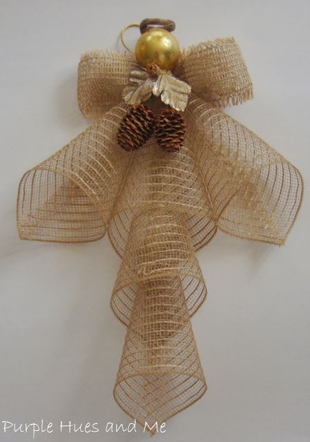 Mesh Ribbon Angels using leftover mesh ribbon. Any color would work.