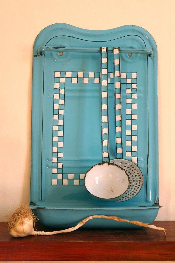 Vintage French Enamel Utensil Rack & Utensils in by GaloreGalore, €110.00