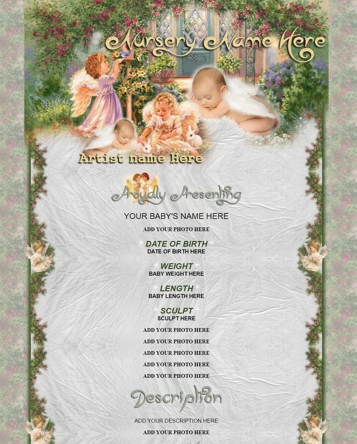 Printable Doll Birth Certificate Template: BABY ANGELS EBay Listing REBORN BABY Template With