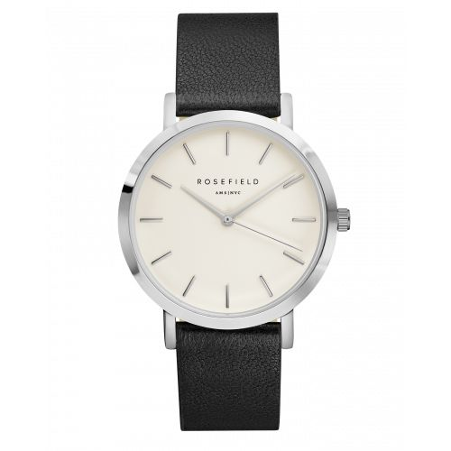 Silver ladies watch Gramercy - black leather strap | ROSEFIELD Watches