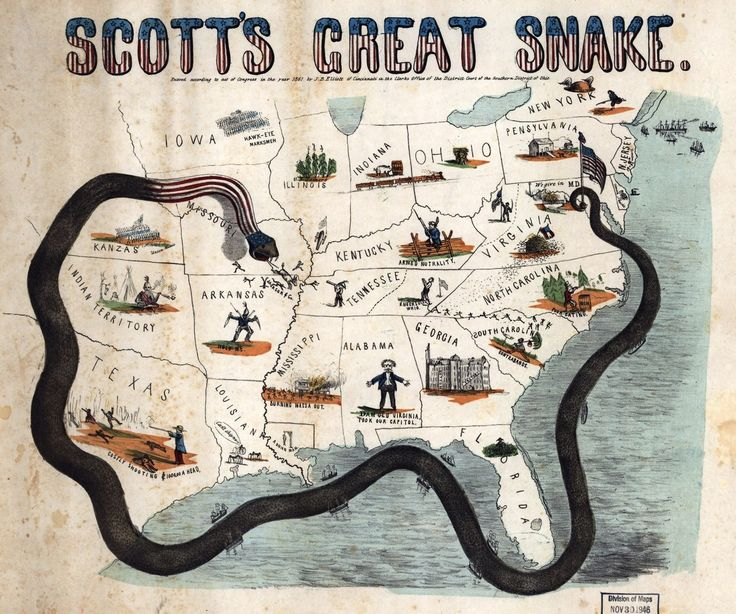 This picture shows the anaconda plan strategy of the north. This picture shows how the Union blockaded the south.
