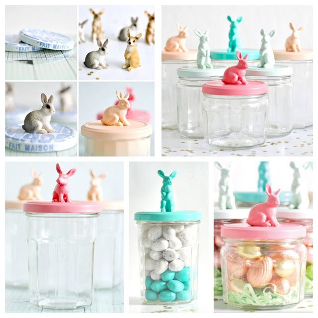 small animal figures + empty jars + paint = upcycled candy/gift jars