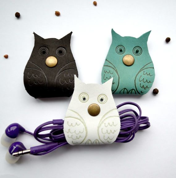 Cord organizers owl Christmas stocking filler leather cord holder earbud holder leather cable gift white owl lover holder earphone organizer