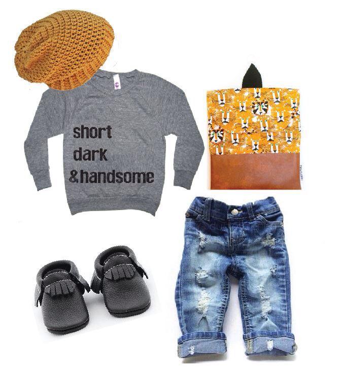 Short Dark & Handsome Pull over Raglan Outfit inspiration. Glamour damaged, Swankaroo, The Coral Pear, Dudley Denim, KaAn's Designs. Little Fashion, Toddler Fashion, Raglan, Moccasins, Moccs, Beanie, Denim Jean, Back Pack
