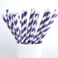 Purple striped party straws