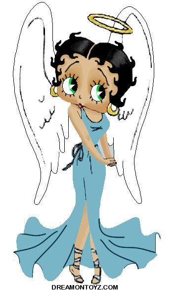Betty Boop as an Angel | Drawing of angel Betty Boop in long blue gown