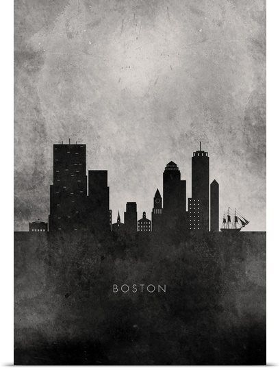 Black and White Minimalist Boston Skyline