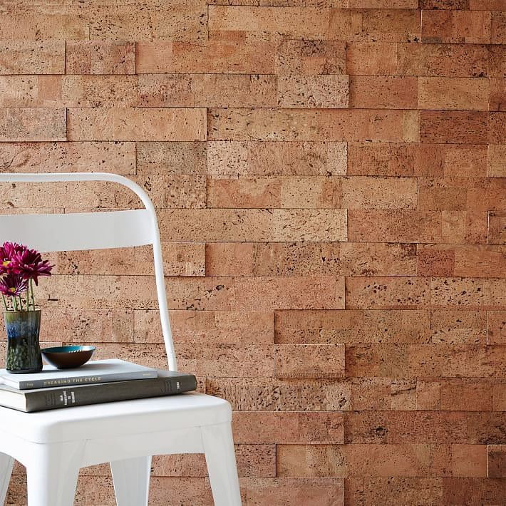 Peel + stick cork wall tiles!   Each set covers 20 square feet for instant bulletin board + sound proofing + style.  #cork #linkinprofile
