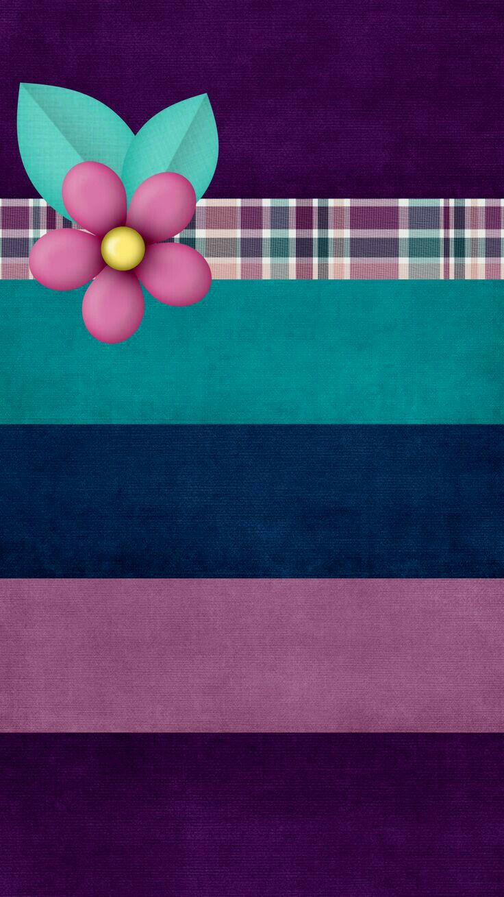 Warm stripes with flower. Wallpaper